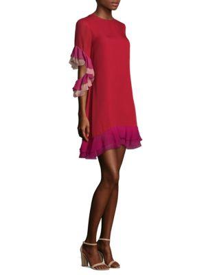 Flo Ruffled Colorblock Silk Shift Dress