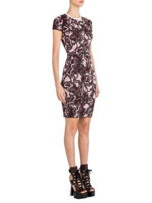 Intarsia-Knit Cold Shoulder Dress