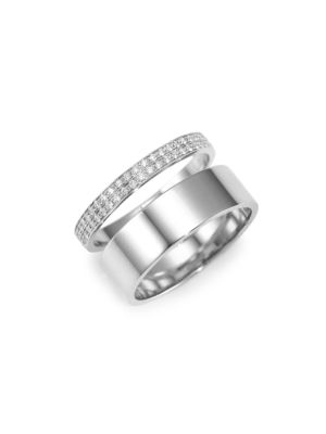 Two Row Diamond & 18K White Gold Berbere Ring