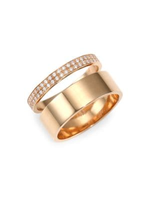 Diamond & 18K Rose Gold Two-Row Ring