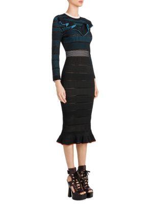 Ruffled Ladder-Stitch Midi Dress