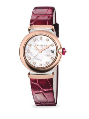 LVCEA Diamond, Mother-Of-Pearl & Burgundy Alligator Strap Watch