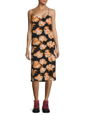 Geroux Floral-Print Silk Slip Dress