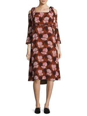 Monette Cold-Shoulder Georgette Dress