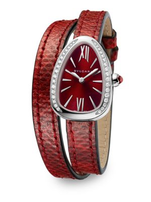Serpenti Diamond & Red Karung Strap Watch