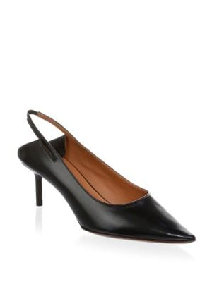 Leather Pointed Toe Slingback Pumps