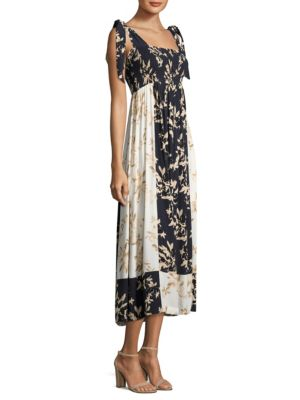 St Pierre Colorblock Crepe Midi Dress