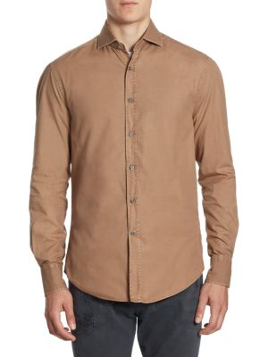 Long Sleeves Cotton Button-Down Shirt