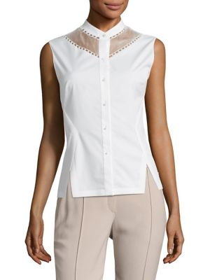 Sheer-Paneled Sleeveless Blouse
