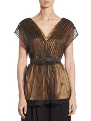Pleated Tulle Blouse by Brunello Cucinelli