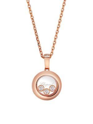 Happy Diamonds 18-karat Rose Gold Diamond Necklace - one size Chopard 3LUKp