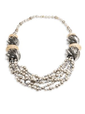 Lucite Crystal-Encrusted Sculptural Multi-Strand Pearl Necklace 0400094986953