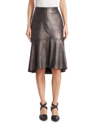 Tulip Metallic Leather Skirt