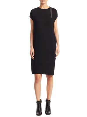 Split-Shoulder Cap Sleeve Dress