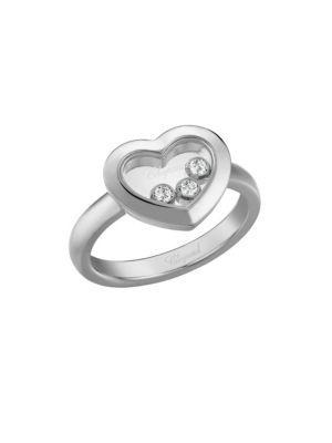 Happy Diamonds Heart 18K White Gold Ring