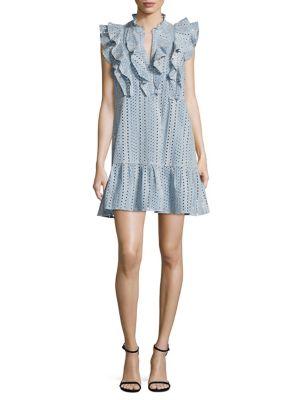 Eyelet Ruffled Cotton Dress