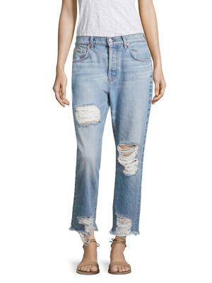Josefina High-Waist Distressed Cropped Boyfriend Jeans