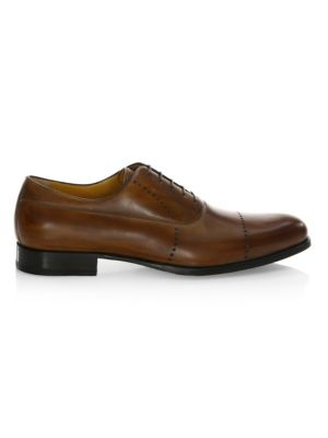 A. TESTONI Leather Perforated Oxfords