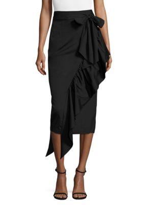 Ruffled Tie-Front Midi Skirt