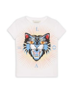 Little Girl's & Girl's Angry Cat Cotton T-Shirt by Gucci