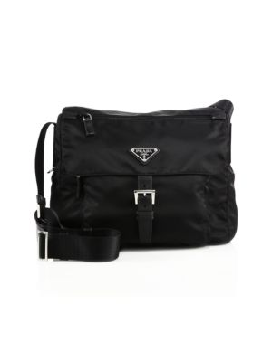 Nylon & Leather Crossbody Bag