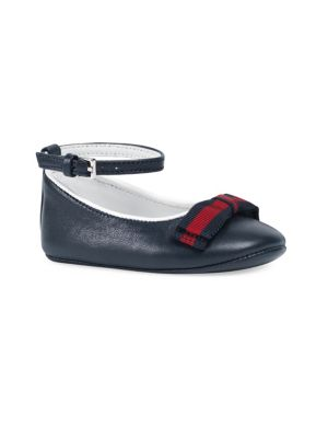Baby's Web-Trim Leather Ballet Flats