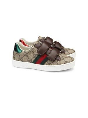 Kid's GG Supreme Canvas Strap Shoes