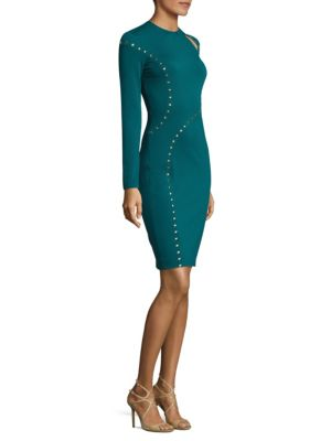 Shoulder-Slit Studded Sheath Dress
