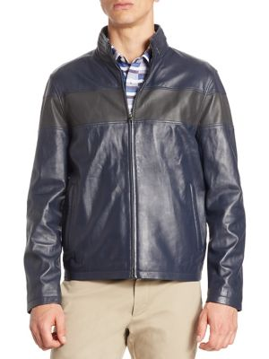 MODERN Perforated Stripe Leather Bomber Jacket