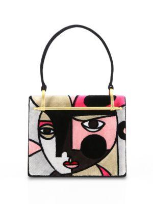 Abstract Velvet Top Handle Bag