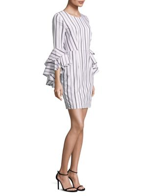 Gabby Striped Bell Sleeves Dress