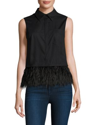 Sleeveless Feather Hem Top