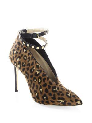 Lark 100 Leopard-Print Pony Hair Ankle-Strap Booties