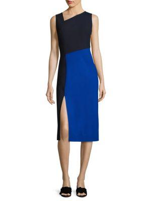 Asymmetrical Colorblock Midi Dress