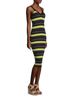 Striped Rib-Knit Tank Dress