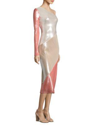 One Shoulder Bias Silk Dress