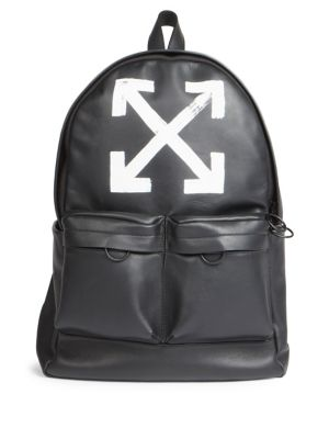 Brushed Leather Arrows Backpack