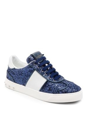 FLY CREW GLITTERED LEATHER SNEAKERS