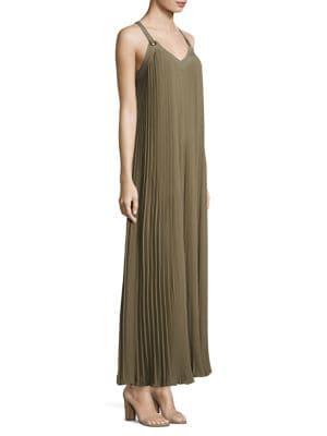 Pleated Grommet Safari Dress