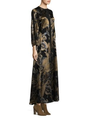 Cadenza Paisley-Print Gown