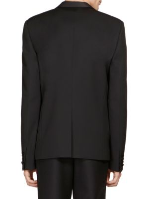 SAINT LAURENT Classic Shawl Collar Virgin Wool Jacket in Black