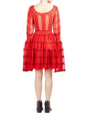 ALEXANDER MCQUEEN Open-Neck Tulle Dress in Red-Black