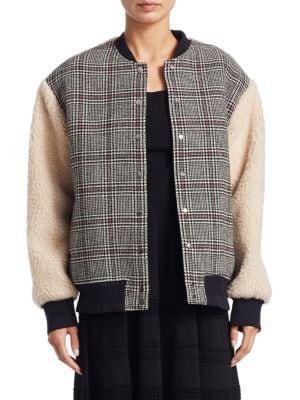 Plaid Wool & Faux Shearling Varisty Jacket