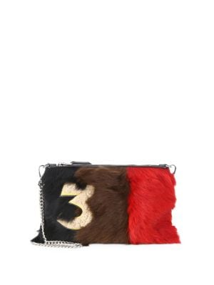 Leather-trimmed fur clutch