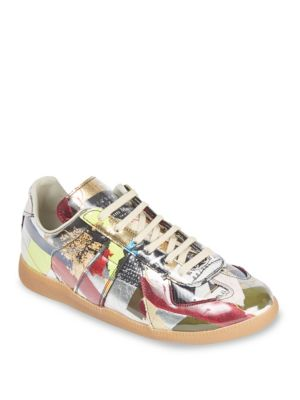 Replica Collage Print Low-Top Leather Sneakers