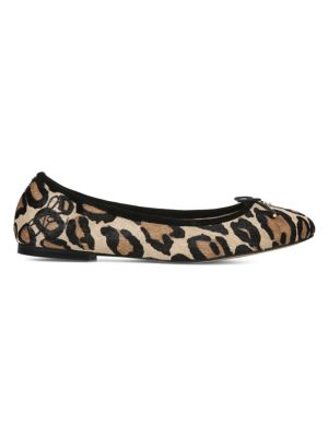 Felicia Leopard Print Leather Flats