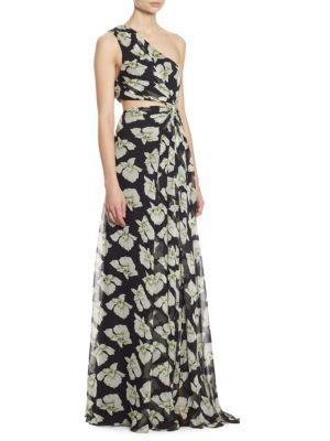 Goldie Cutout One-Shoulder Silk Gown