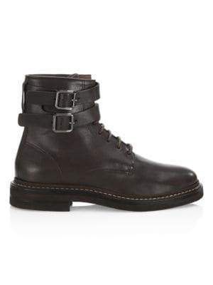 Double Buckle Leather Boots