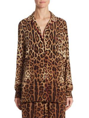 Leopard-Print Crepe de Chine Pajama Blouse