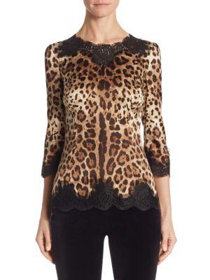 Lace-Trim Leopard-Print Blouse